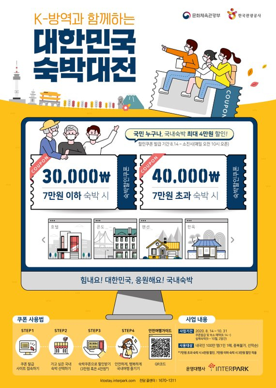 A poster introducing a government-led discount event by the Korea Tourism Organization and the Ministry of Culture, Sports and Tourism to help the struggling local tourism market. [KTO, MCST]