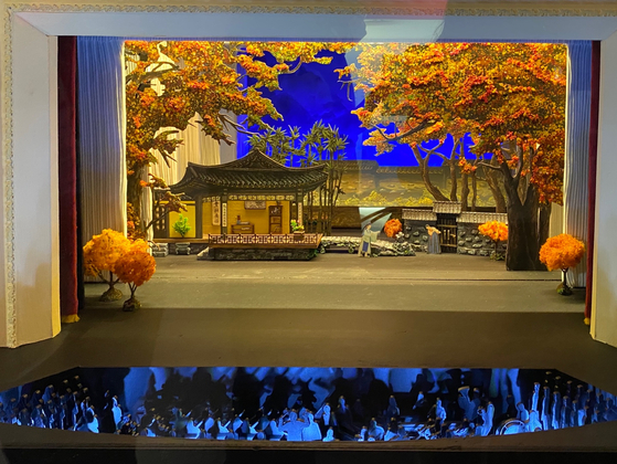 """A miniature model of the stage of North Korean national opera """"Chunhyangjeon."""" [KIM YEON-AH]"""