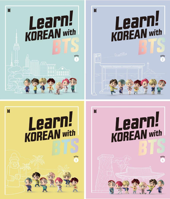 """Cover images of textbooks for """"Learn! Korean with BTS"""" [BIG HIT ENTERTAINMENT]"""