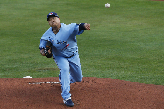 Ryu Hyun-jin of the Toronto Blue Jays throws a pitch during a game against the Miami Marlins at Shalen Field in Buffalo on Tuesday. [AP/YONHAP]
