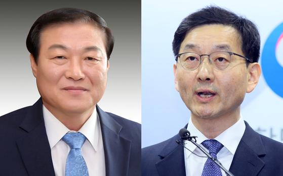 President Moon Jae-in on Wednesday names Chung Man-ho, left, as senior secretary for public affairs and Yoon Chang-yul as senior secretary for social affairs,  [YONHAP]