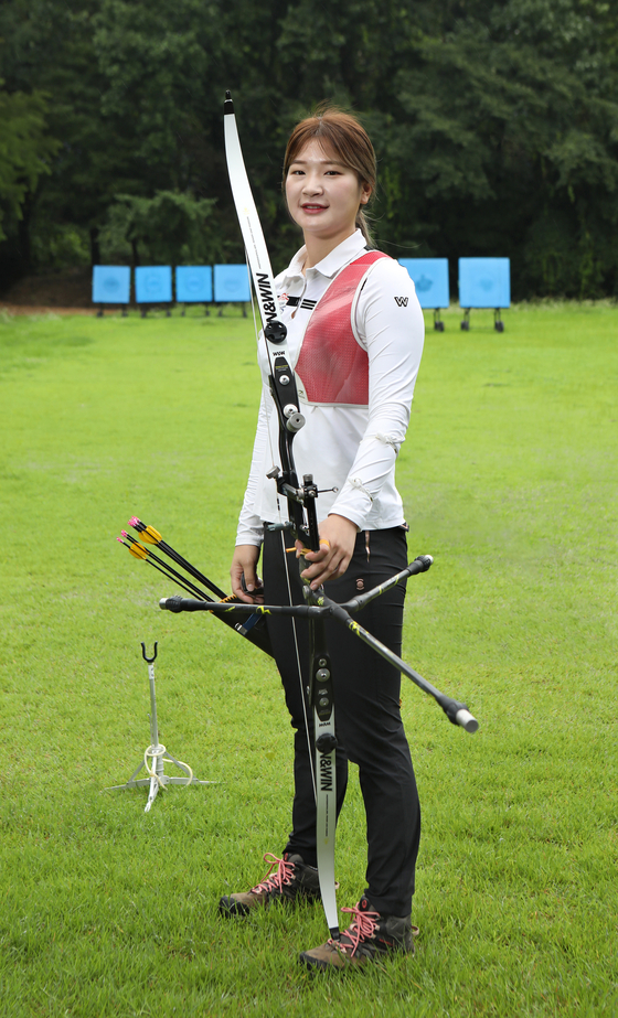 Archer Kang Chae-young poses for a photo at the Hyundai Mobis women's archer team's training site in Yongin, Gyeonggi, on Aug. 6. [PARK SANG-MOON]