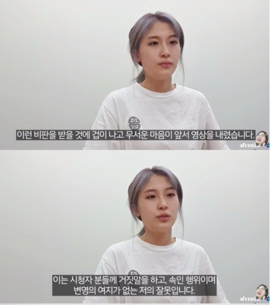 Popular YouTuber YangPang, whose real name is Yang Eun-ji, apologizes for not informing her viewers about paid advertisements on Aug. 8. [SCREEN CAPTURE]