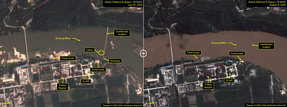 Satellite images published in a report by the North Korea analysis website 38 North, show flooding along the Kuryong River bisecting the Yongbyon nuclear complex. The image on the left shows the complex on July 22, before the rain, while the image on the right shows elevated water levels on the river on Aug. 6, following heavy downpours. [YONHAP]