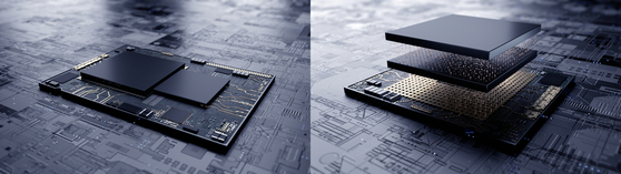Left: A conventional integrated circuit design. Right: The three-dimensional integration design called X-Cube.  [SAMSUNG ELECTRONICS]