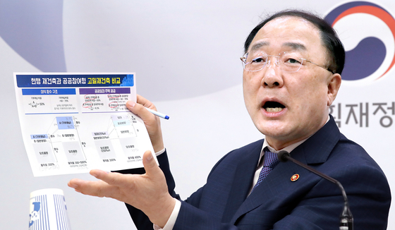 Hong Nam-ki, finance minister and deputy prime minister for the economy, on Aug. 10 explains a government plan to redeem 90 percent of profits made from extra space by allowing greater density in apartment redevelopments. [NEWS1]