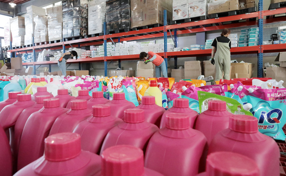 Inventory is stacked inside a warehouse in Goyang, Gyeonggi, in June. [NEWS1]
