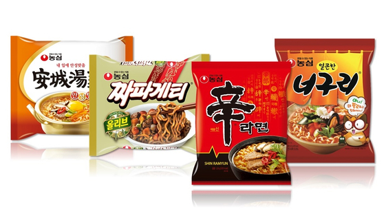 Four instant noodle products from Nongshim. [NONGSHIM]