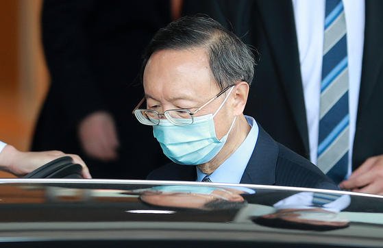 Yang Jiechi, a member of China's Politburo and director of the Chinese Communist Party's Office of Foreign Affairs, arrives at Gimhae International Airport of Busan on Friday.  [YONHAP]