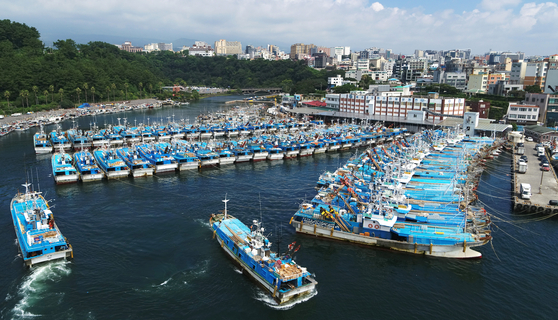 Fishing boats anchor at Seogwipo Port on Jeju Island Monday in advance of Typhoon Bavi approaching the Korean Peninsula. The powerful typhoon, accompanied by strong winds and heavy rains, will directly affect the Korean Peninsula on Wednesday and Thursday. [YONHAP]