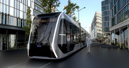 An image of a hydrogen-fueled tram under development by Hyundai Rotem [HYUNDAI ROTEM]