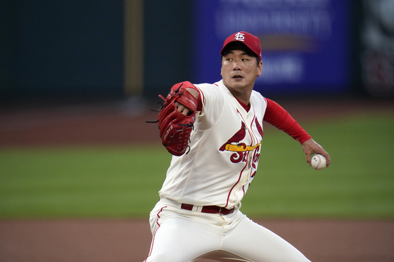 Kim Kwang-hyun of the St. Louis Cardinals throws a pitch during a game against the Cincinnati Reds at Busch Stadium in St. Louis on Saturday. [AP/YONHAP]