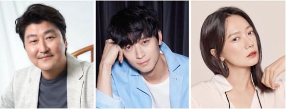 From left, actors Song Kang-ho, Gang Dong-won and Bae Doo-na. [CJ ENTERTAINMENT, YG ENTERTAINMENT, GIORGIO ARMANI]