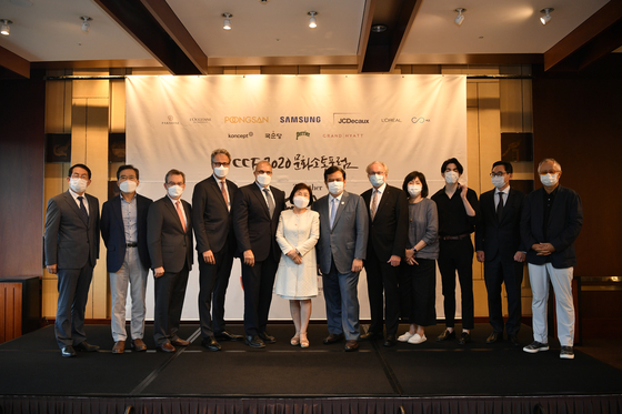 Cultural Communications Forum 2020 panelists pose on Wednesday at the Grand Hyatt Seoul in central Seoul. [CICI]