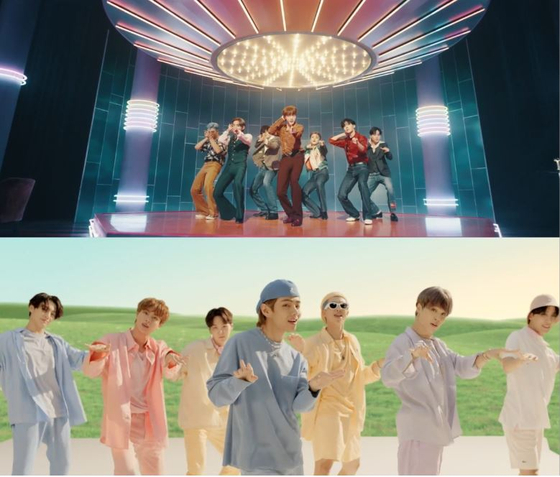 """Captured images from BTS's music video for """"Dynamite"""" [BIG HIT ENTERTAINMENT]"""
