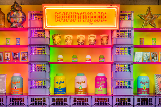 """The installation piece """"The Boutique"""" at Barakat Contemporary Gallery, where Hassan Hajjaj's solo exhibition in central Seoul is featured. [BARAKAT CONTEMPORARY]"""