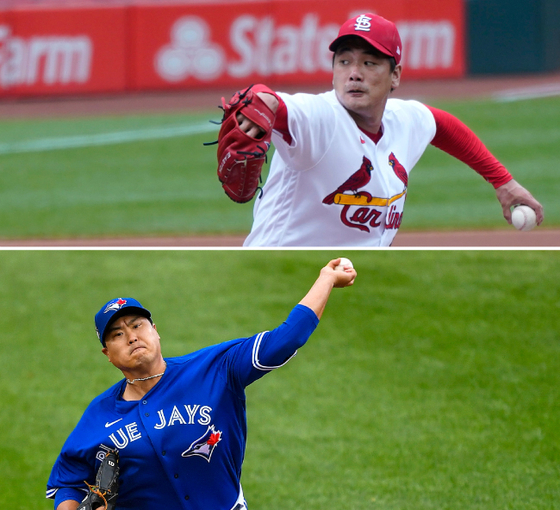 From top: Kim Kwang-hyun of the St. Louis Cardinals throws a pitch during a game against the Pittsburgh Pirates at Busch Stadium in Missouri on Thursday. Ryu Hyun-jin of the Toronto Blue Jays throws a pitch during a game against the Baltimore Orioles at Shalen Field in New York on Saturday. [AP/YONHAP]