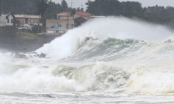 Fierce waves batter the coast of Jeju at Seogwipo on Wednesday, as Typhoon Maysak makes its way north toward the island before its projected landfall near Busan in the evening. [YONHAP]
