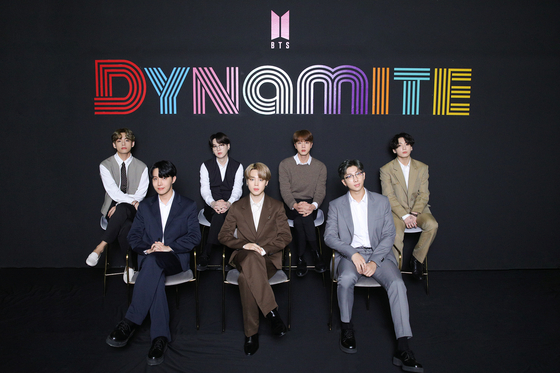 BTS poses for photos prior to the online press conference held on Wednesday morning to share its thoughts on having reached No. 1 on Billboard's Hot 100 singles chart for the first time. [BIG HIT ENTERTAINMENT]