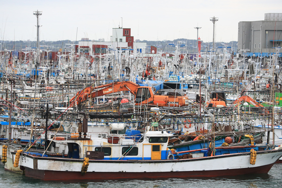 Hundreds of fishing vessels are docked in Seogwipo harbor in Jeju on Sunday due to the approach of Typhoon Haishen. [YONHAP]