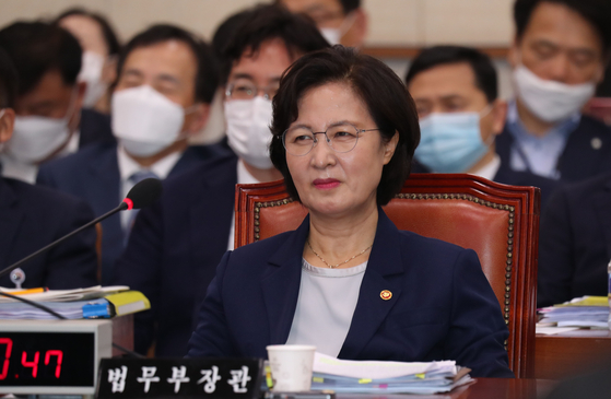 "In a Q. and A. session at the Legislation and Judiciary Committee meeting in the National Assembly on July 27, Justice Minister Choo Mi-ae sneered, 'You're writing a novel!"" when an opposition lawmaker raised the issue of favoritism for excess sick leave for her son during his military service three years ago. [OH JONG-TAEK]"