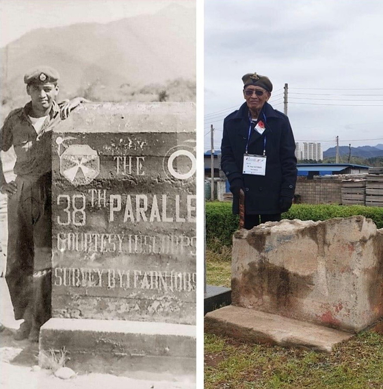 Hapi October, Kiwi veteran of the Korean War (1950-1953), in a photo taken in Korea near the border in 1952, left, and at the same location in 2019 during his revisit. [HAPI OCTOBER]