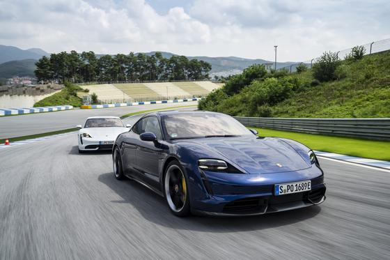 Porsche's Taycan is driven at the 2020 Porsche World Roadshow on Sept. 2 at the AMG Speedway in Yongin, Gyeonggi. [PORSCHE KOREA]