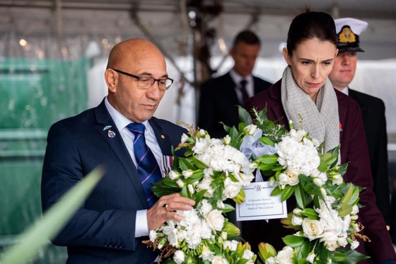 New Zealand's Prime Minister Jacinda Ardern, right, and Defence Minister Ron Mark at the ceremony to mark 70th anniversary of the outbreak of the Korean War (1950-1953) at Pukeahu National War Memorial Park in Wellington on July 1. [NEW ZEALAND DEFENCE FORCE]