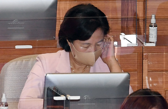 Justice Minister Choo Mi-ae attends the National Assembly's plenary session on Monday.  [YONHAP]