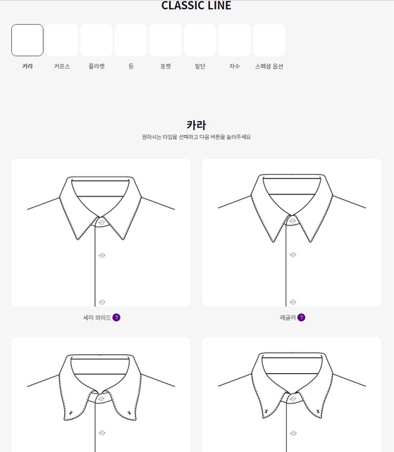 Tribons' online shirts customizing platform Shirts Specter not only asks questions related to size, such as the lengths of the neck, shoulders, chest and waist, but also allows consumers to customize detailed designs for the collar, pocket and cuffs. [SHIRTS SPECTER]
