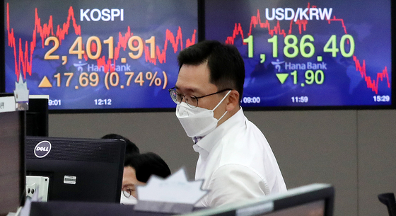 A screen shows the closing stats for the Kospi in a trading room at Hana Bank in Jung District, central Seoul, Tuesday. [NEWS1]