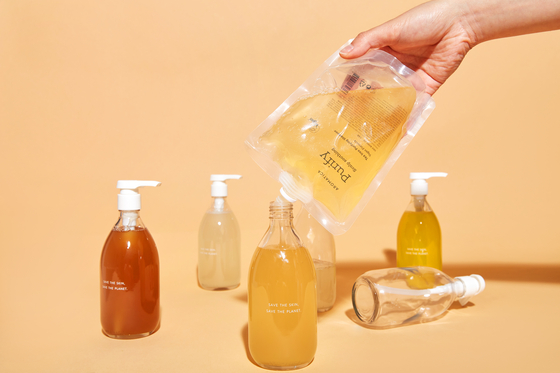 Local beauty brand Aromatica produces a variety of refillable products. Dispensers are also made with recycled plastic.  [AROMATICA]