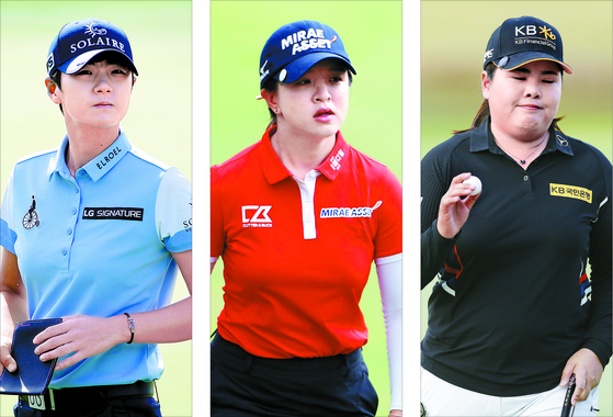 From left: Park Sung-hyun, Kim Sei-young and Park In-bee [GETTY IMAGES/YONHAP]