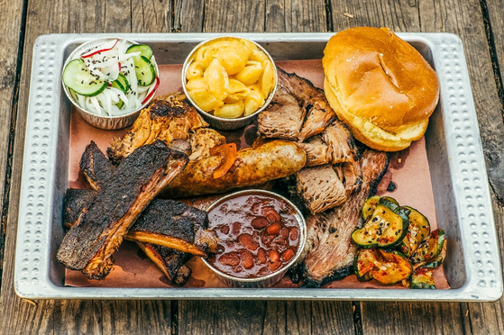 An Heirloom Market barbecue platter. [FOOD AND WINE]