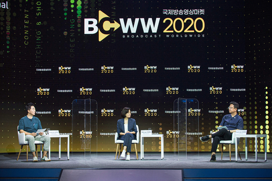 From left, reporter Seo Jung-min of local media outlet Hankyoreh and CEOs Yoon Shin-ae and Chang Hyuk-jae discuss their success factors behind popular content on global streaming services such as YouTube and Netflix. [BCWW 2020]