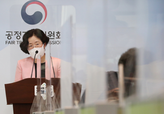 Fair Trade Commission Chairwoman (FTC) Cho Sung-wook holds a press briefing on her first anniversary as the head of the antitrust agency at the FTC headquarters in Sejong on Tuesday. [YONHAP]