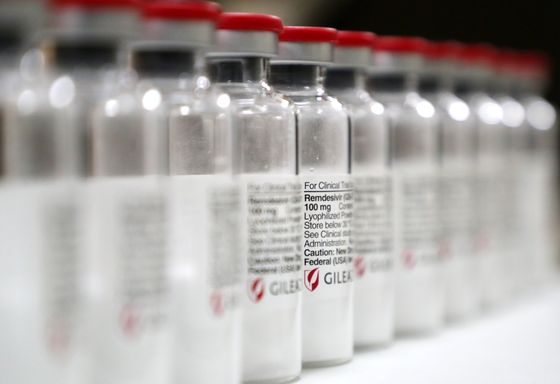 Gilead Sciences' remdesivir lined up at Seoul National University Hospital on June 3. [YONHAP]