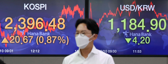 A screen shows the closing stats for the Kospi in a trading room at Hana Bank in Jung District, central Seoul, Thursday. [YONHAP]