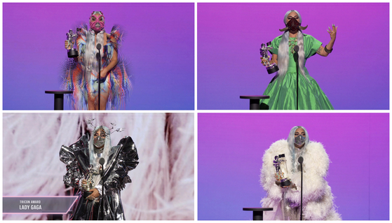 The colorful mask fashion presented by pop star Lady Gaga at the 2020 MTV Video Music Awards on Aug. 30. [REUTERS/YONHAP]