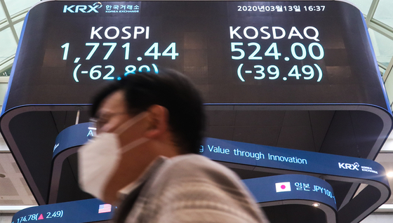 A person walks past a screen with the Kospi close at the Korea Exchange building in Yeouido, western Seoul. [YONHAP]