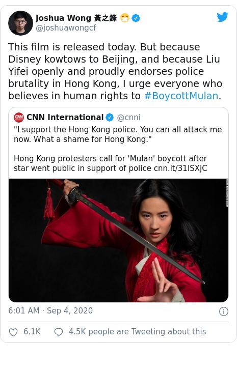A tweet by Hong Kong activist Joshua Wong urging people to boycott the film. [TWITTER]