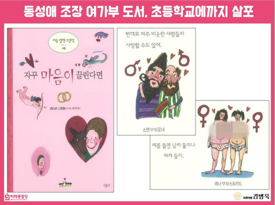 "Scenes from the Korean version of 'The Love Book"" (2001) by Pernilla Stalfelt used as Rep. Kim Byeong-wook's evidence that the books ""promote homosexuality"" in his inquiry towards the Education Minister on Aug. 25. [KIM BYEONG-WOOK]"