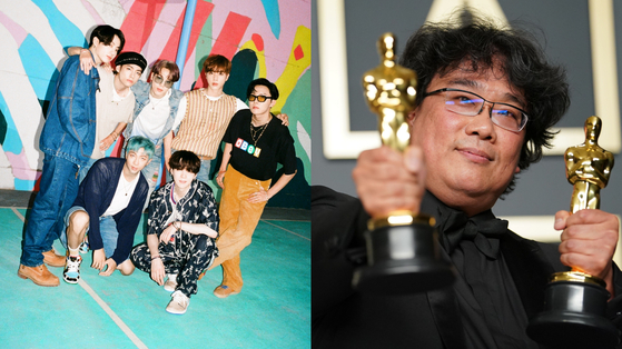 """Korea recorded the first-ever half-year surplus in the trade of culture and arts copyrights, thanks to the global popularity of K-pop bands such as BTS, left, and of films including the Oscar-winning 'Parasite,"""" right, the Culture Ministry said on Sunday. [BIG HIT ENTERTAINMENT, YONHAP]"""