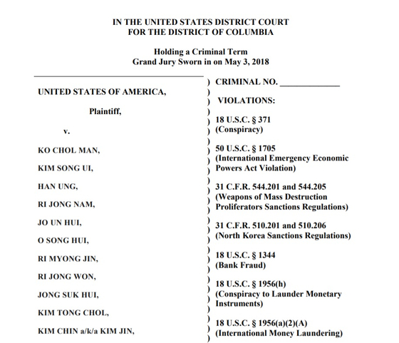 A screenshot of a U.S. Justice Department indictment from May of dozens of North Korean bankers accused of laundering money for the regime. [SCREEN CAPTURE]