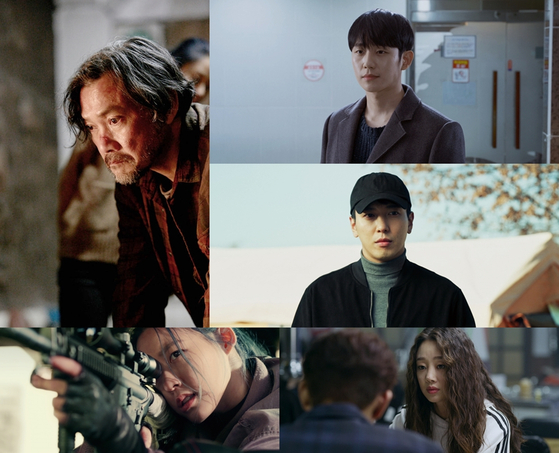 """A star-studded cast of actors are featured in the film """"P1H: A New World Begins."""" Clockwise from top left: Actors Jung Jin-young, Jung Hae-in, Jung Yong-hwa, Choi Yeo-jin and Kim Seol-hyun. [FNC ENTERTAINMENT]"""