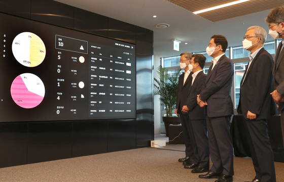 Minister of Trade, Industry and Energy Sung Yun-mo, third from right, watches a solar energy monitor at Soul Energy, a solar energy consulting firm, in central Seoul on Tuesday. [YONHAP]