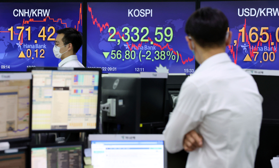A screen shows the closing figure for the Kospi in a trading room at Hana Bank in Jung District, central Seoul, on Tuesday. [YONHAP]