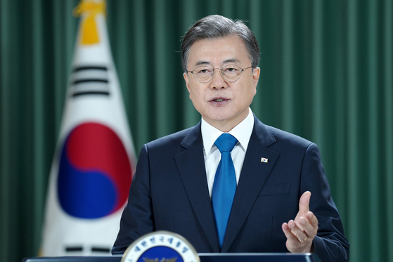 President Moon Jae-in gives a video speech for the United Nations General Assembly on Wednesday, Korean time. [YONHAP]