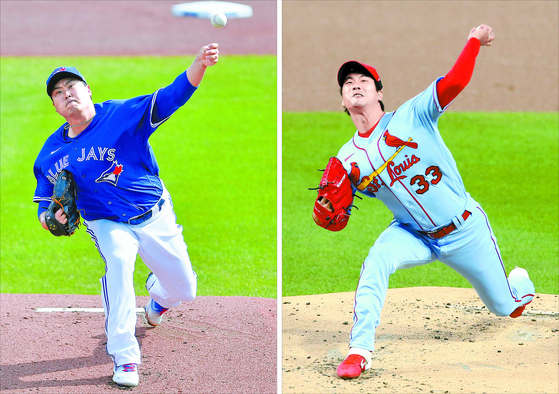 Ryu Hyun-jin of the Toronto Blue Jays, left, and Kim Kwang-hyun of the St.Louis Cardinals will make their starts on the same day for the fourth time this season on Thursday. [AP/YONHAP, REUTERS/YONHAP]
