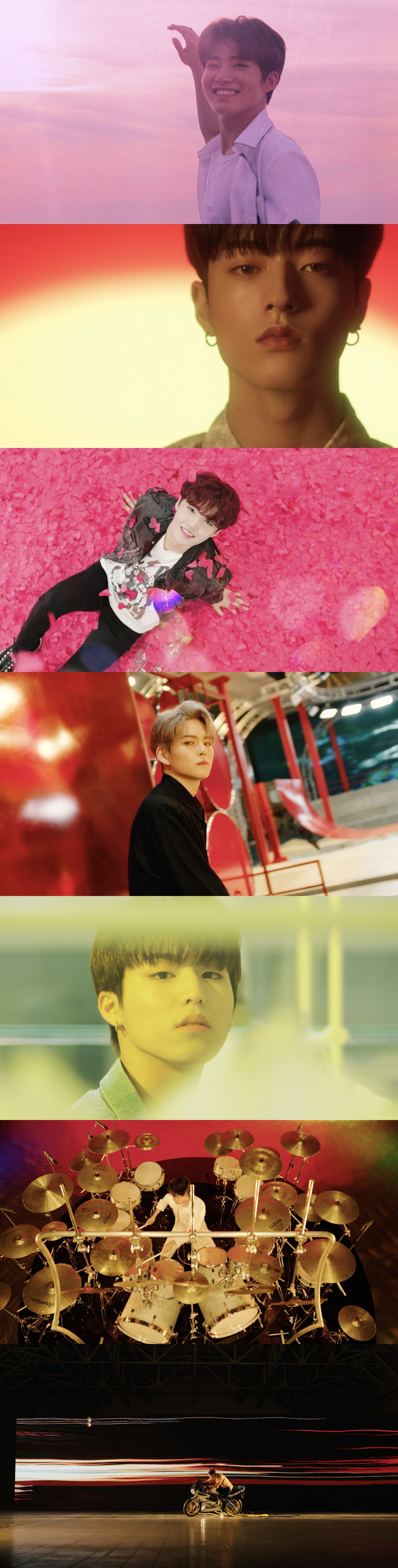 "Captured images from the music video of boy band Treasure's new song ""I Love You."" [YG ENTERTAINMENT]"